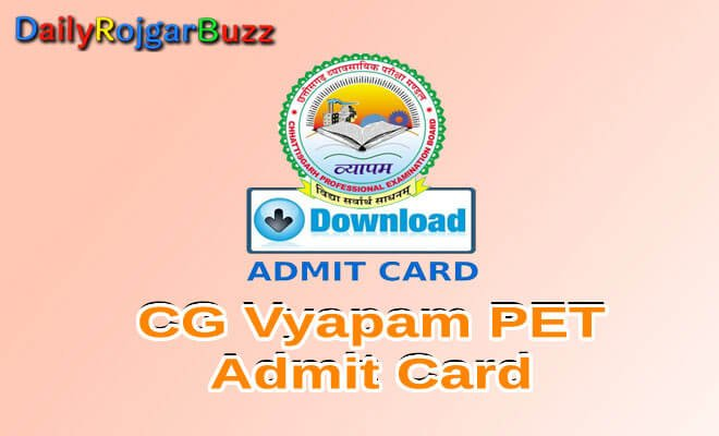 CG Vyapam PET Admit Card